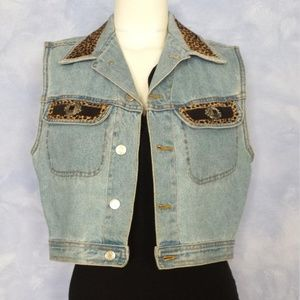 Vintage Denim and Faux Leopard Print Fur Vest